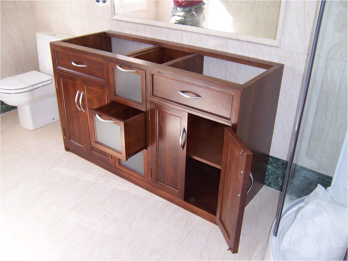 mueble para bajo lavabos dos senos con puertas y cajones centrales con frente