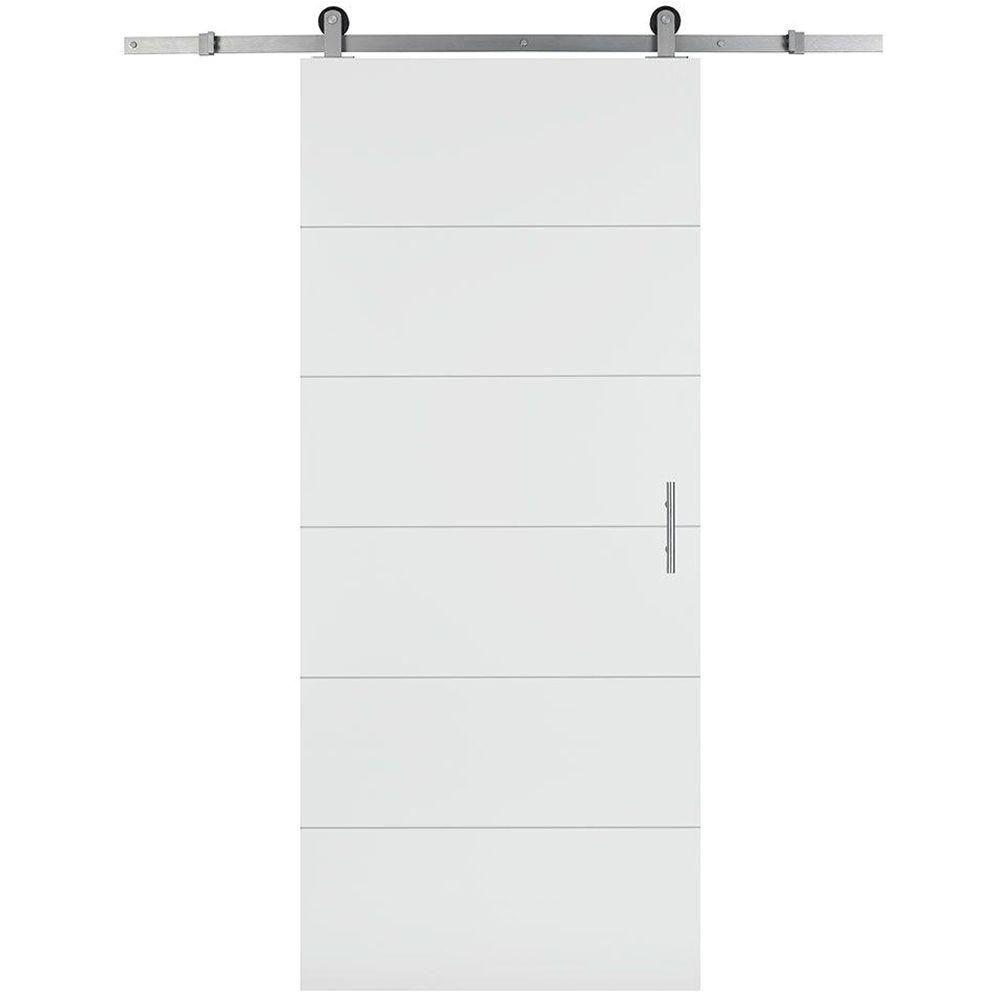 melrose solid core primed composite interior barn door slab with sliding door hardware kit 47590 the home depot