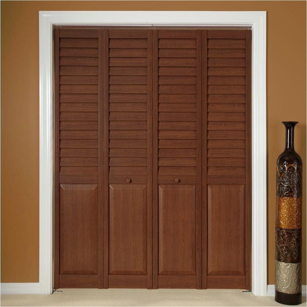 home fashion technologies 18 in x 80 in 3 in louver panel dark teak composite interior bi fold door