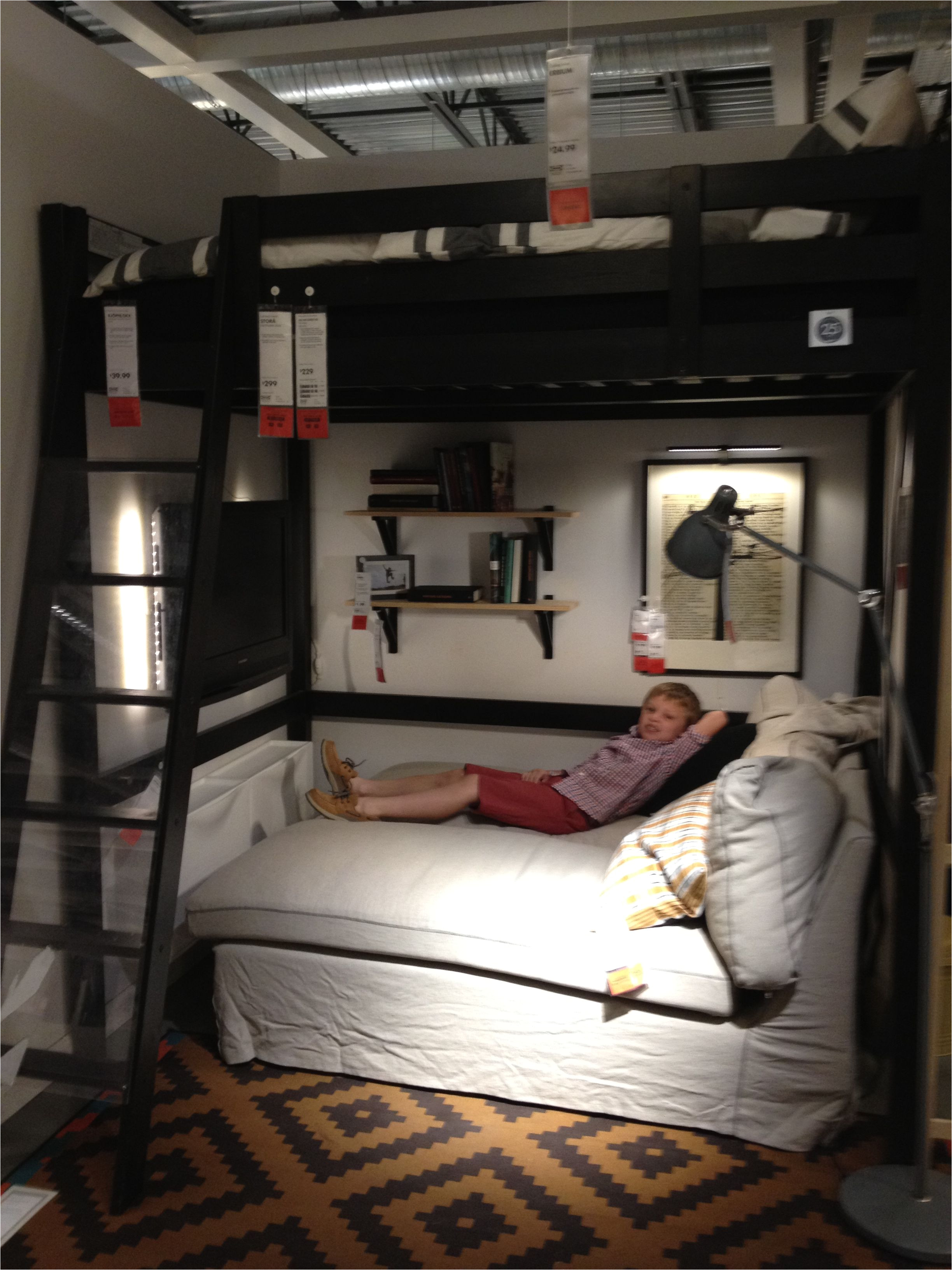 ikea bedroom loft bed with chaise underneath tv on the wall