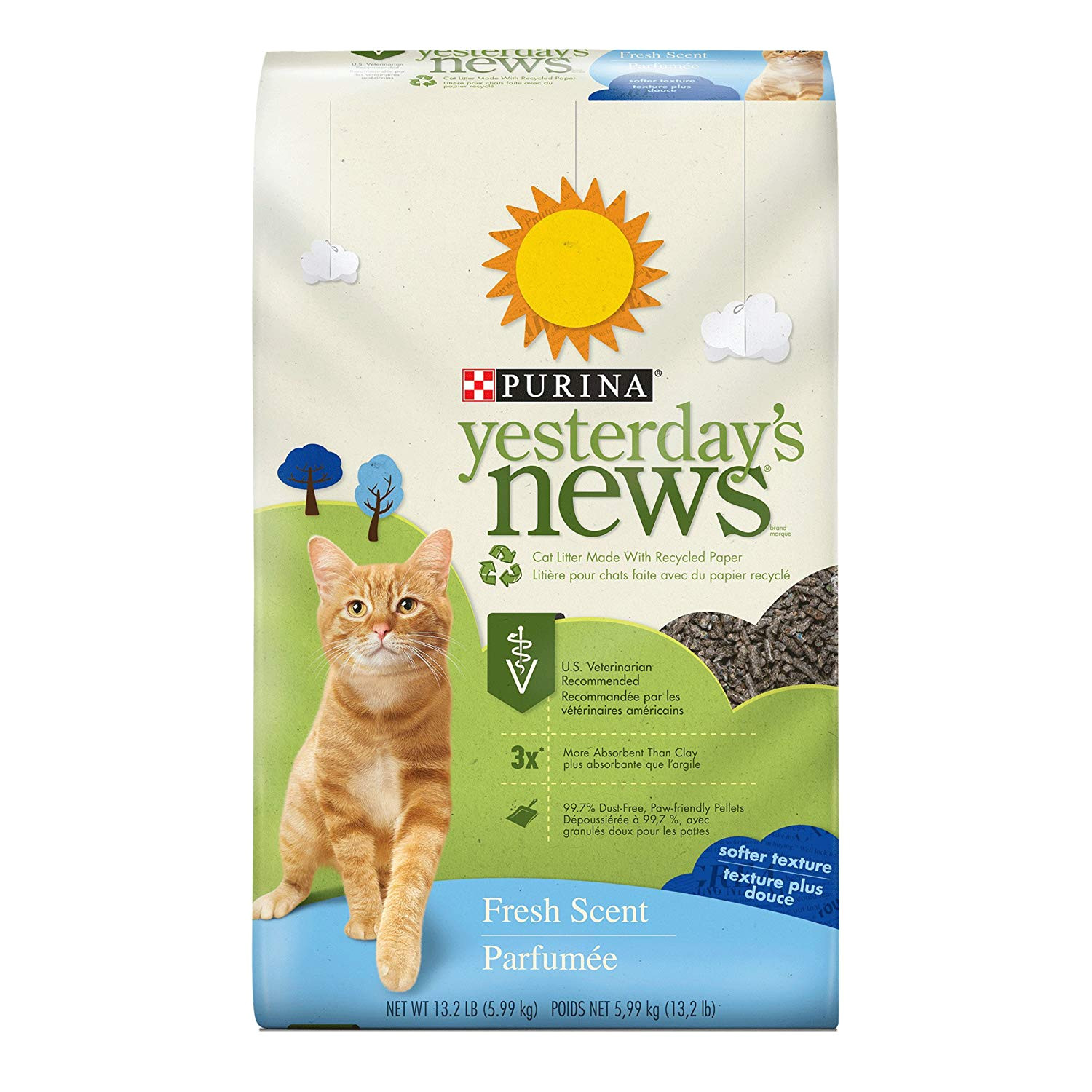 amazon com purina yesterday s news fresh scent cat litter 13 2 lb bag pet litter pet supplies