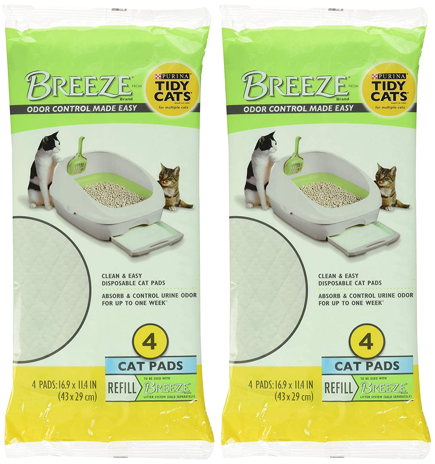 amazon com tidy cats breeze litter pads 16 9 x11 4 2 pack of 4 pads 2 pack 2 set of 2 pack pet supplies