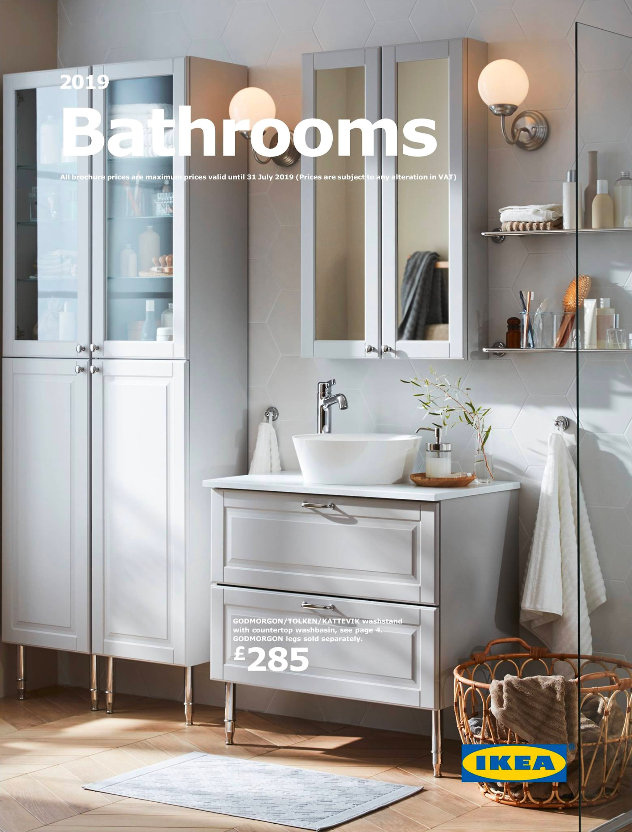 this is the cover of the bathrooms brochure featuring a white godmorgon cabinet with a wash