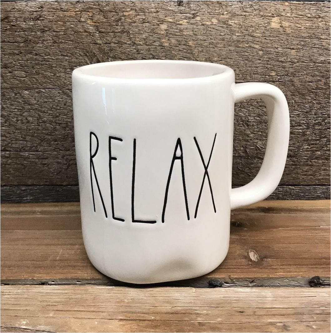 this is a brand new rae dunn artisan clay mug featuring the word relax the mug measures 5 25 w with handle x 3 5 circumference x 4 75 t