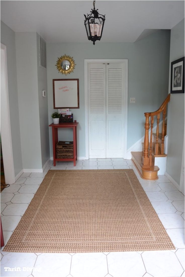 sherwin williams sea salt and rainwashed sea salt paint color in a foyer after