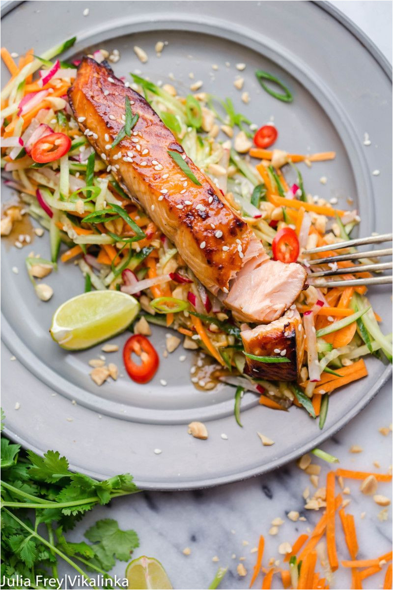 asian style salmon with carrot and cucumber slaw in peanut dressing by vikalinka salmon