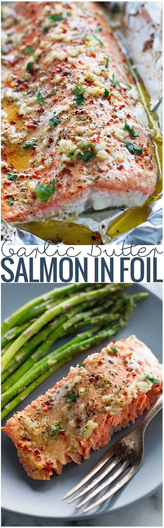 lemon garlic butter baked salmon in foil takes less than 30 minutes perfect for weeknight dinners