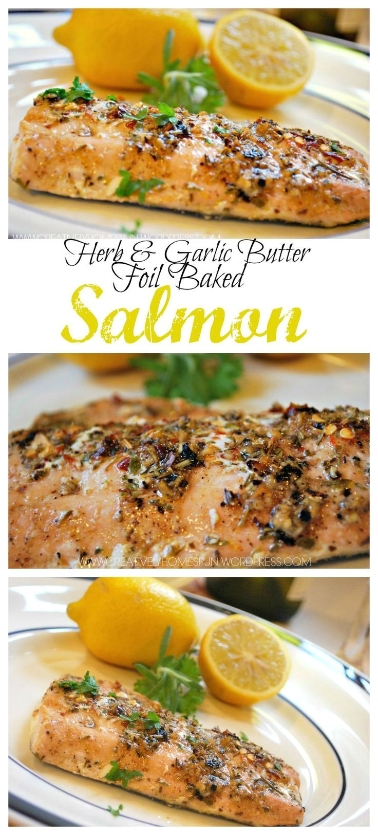 herb garlic butter foil baked salmon