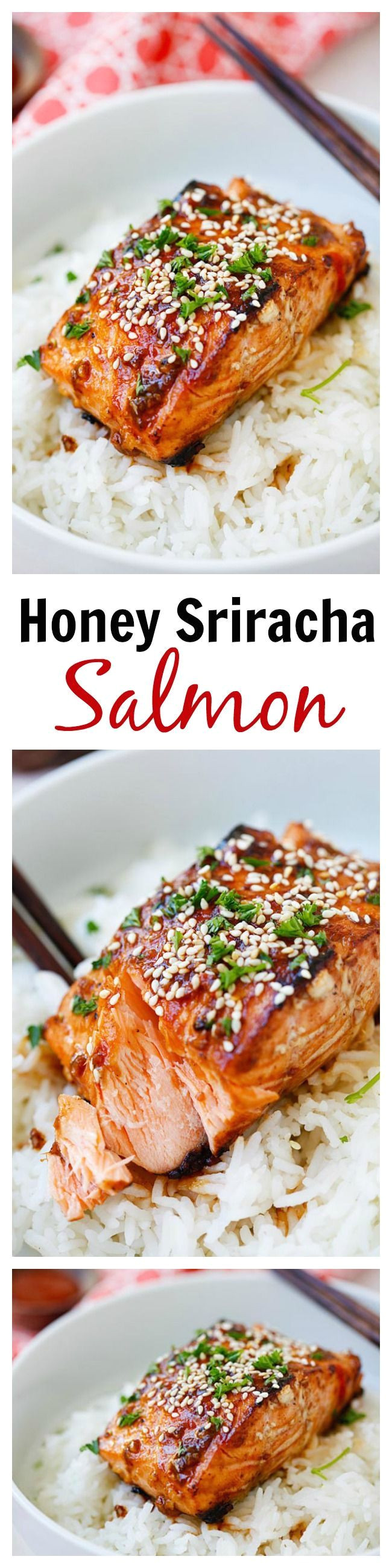 honey sriracha salmon easy spicy sweet and savory this glazed salmon