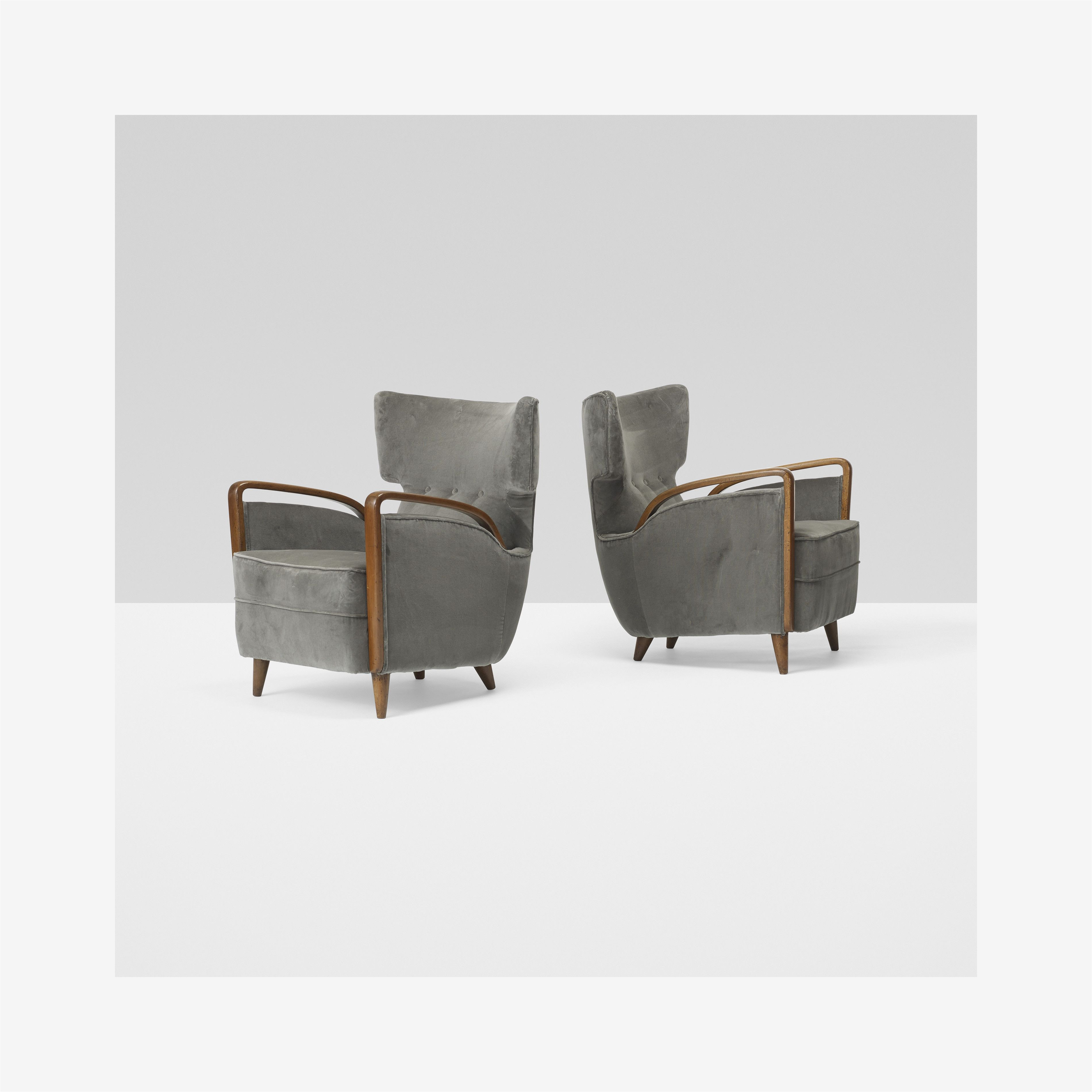 melchiorre bega pair of lounge chairs model 512 cassina italy 1953 italian walnutupholstery 24 5 w x 27 d x 31 h inches estimate 10 000 15 000