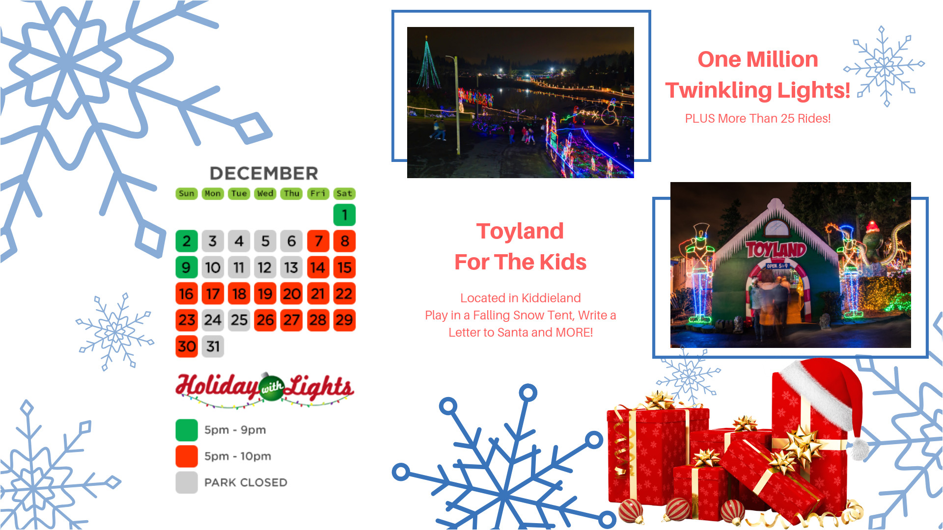 santa claus is coming to wild waves theme water park in december little elves light up the theme park with a dazzling display of more than a million