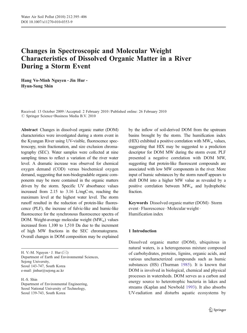 pdf changes in spectroscopic and molecular weight characteristics of dissolved organic matter in a river during a storm event
