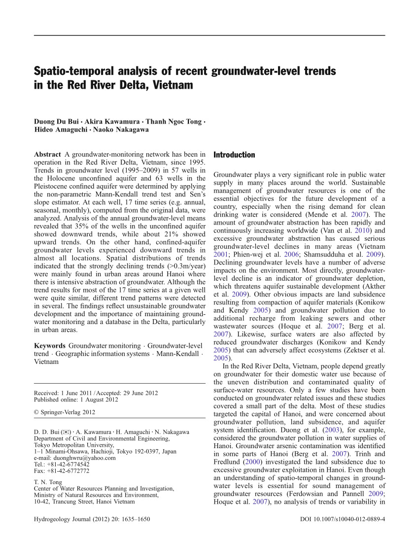pdf spatio temporal analysis of recent groundwater level trends in the red river delta vietnam