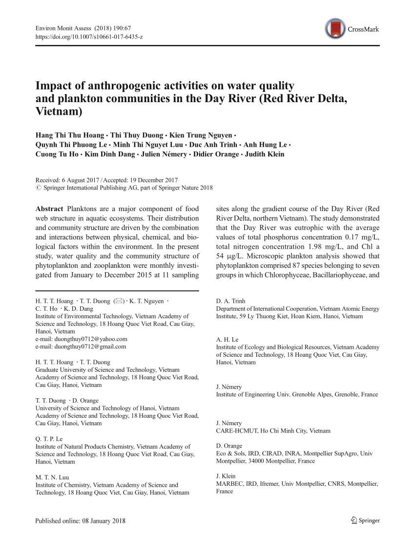 pdf impact of anthropogenic activities on water quality and plankton communities in the day river red river delta vietnam