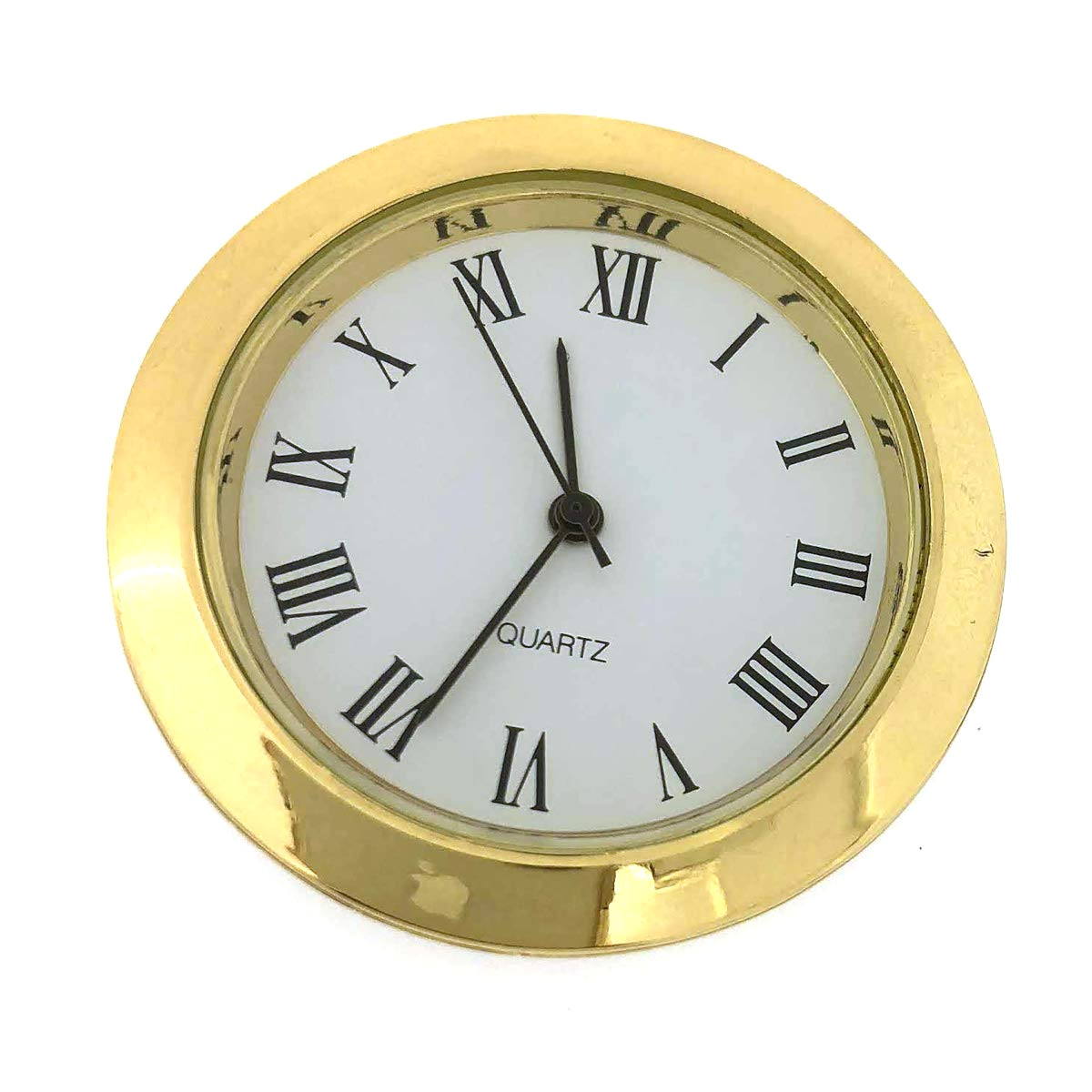 amazon com mini clock quartz movement insert round white dial gold tone bezel roman number watches