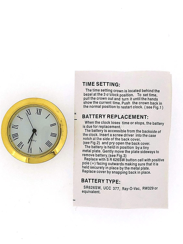 Replacement Battery Operated Clock Works Amazon Com Mini Clock Quartz Movement Insert Round White Dial Gold