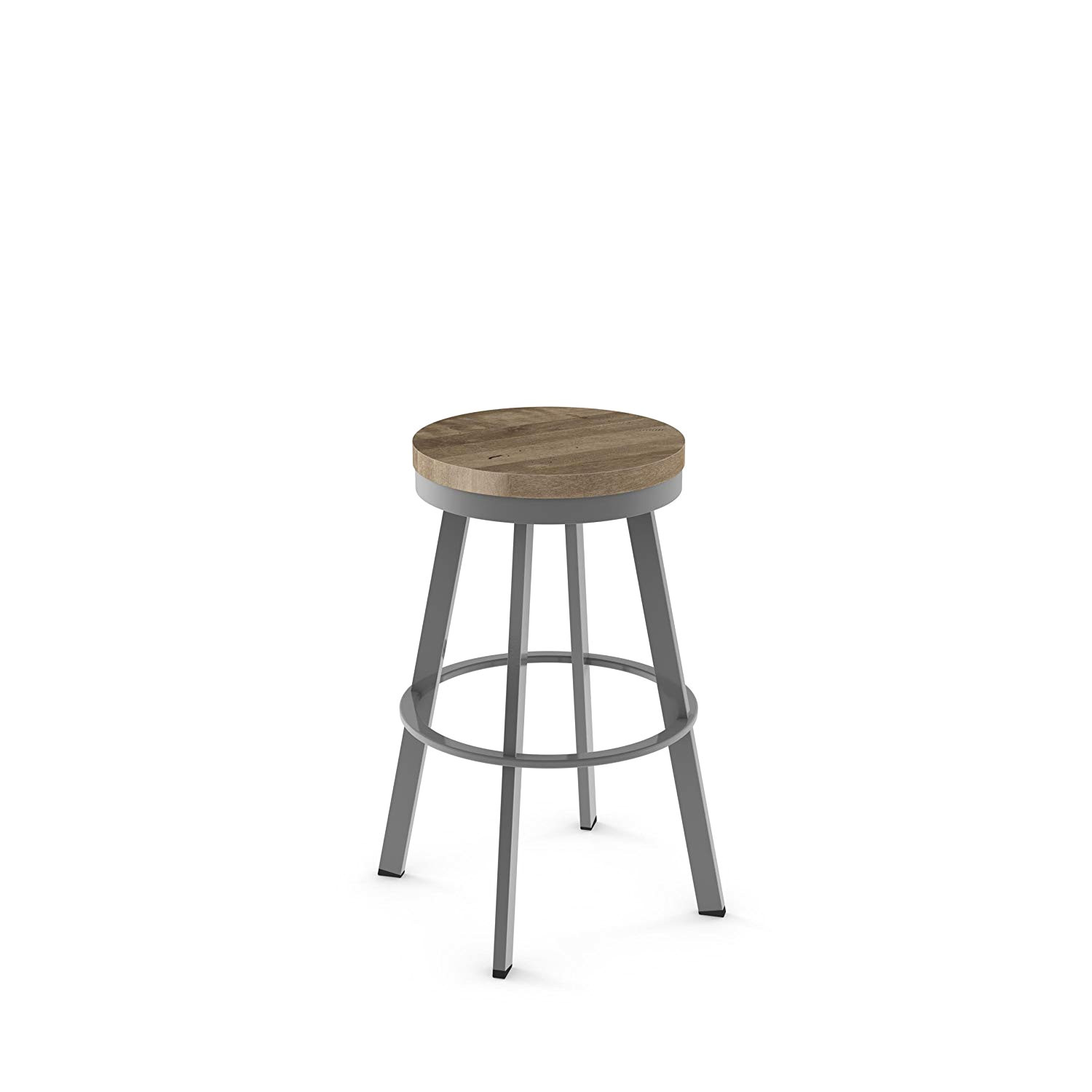 amazon com amisco warner swivel metal counter stool in glossy grey metal and beige distressed wood kitchen dining