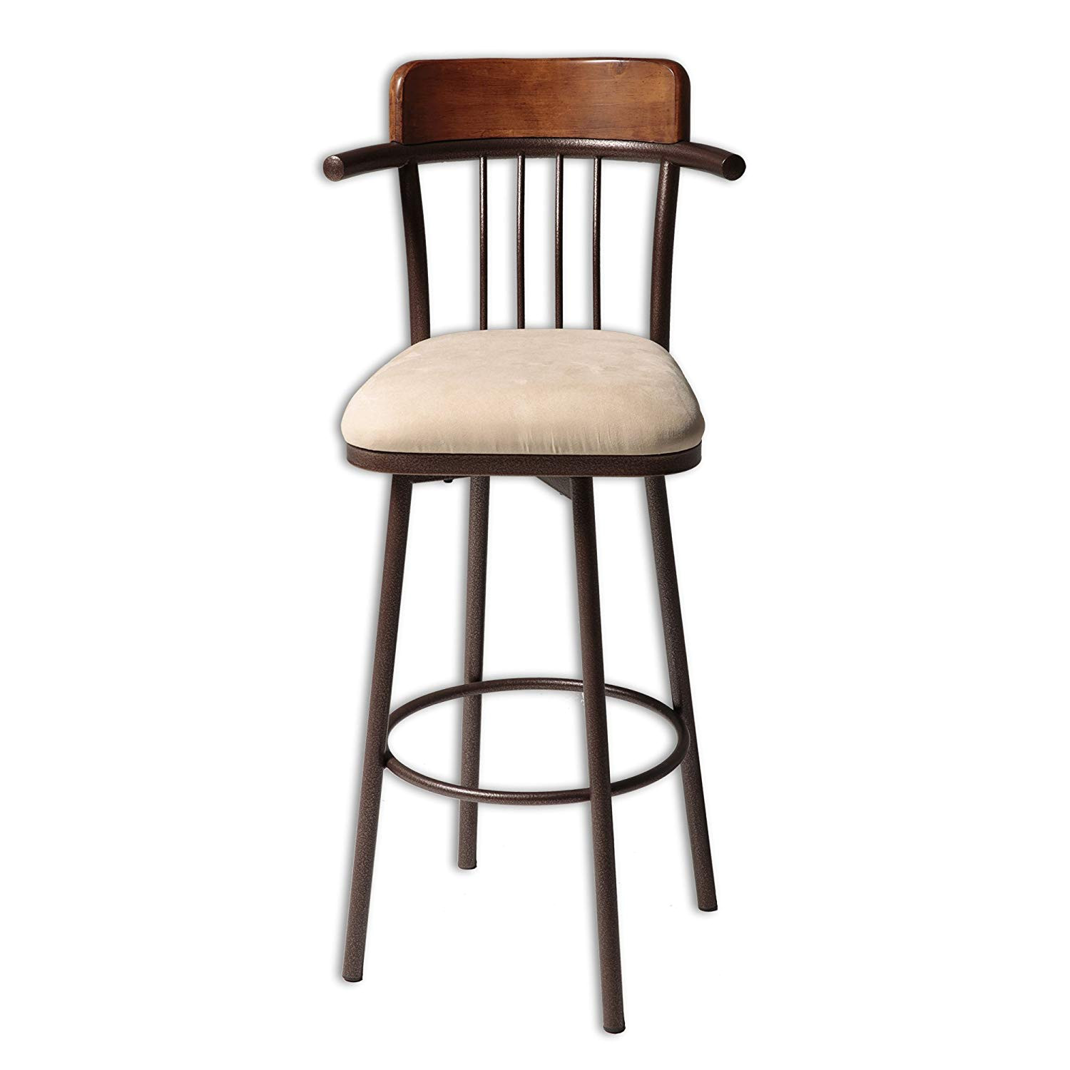 amazon com augusta metal counter stool with wheat microfiber swivel seat and hammered copper frame finish 26 inch kitchen dining