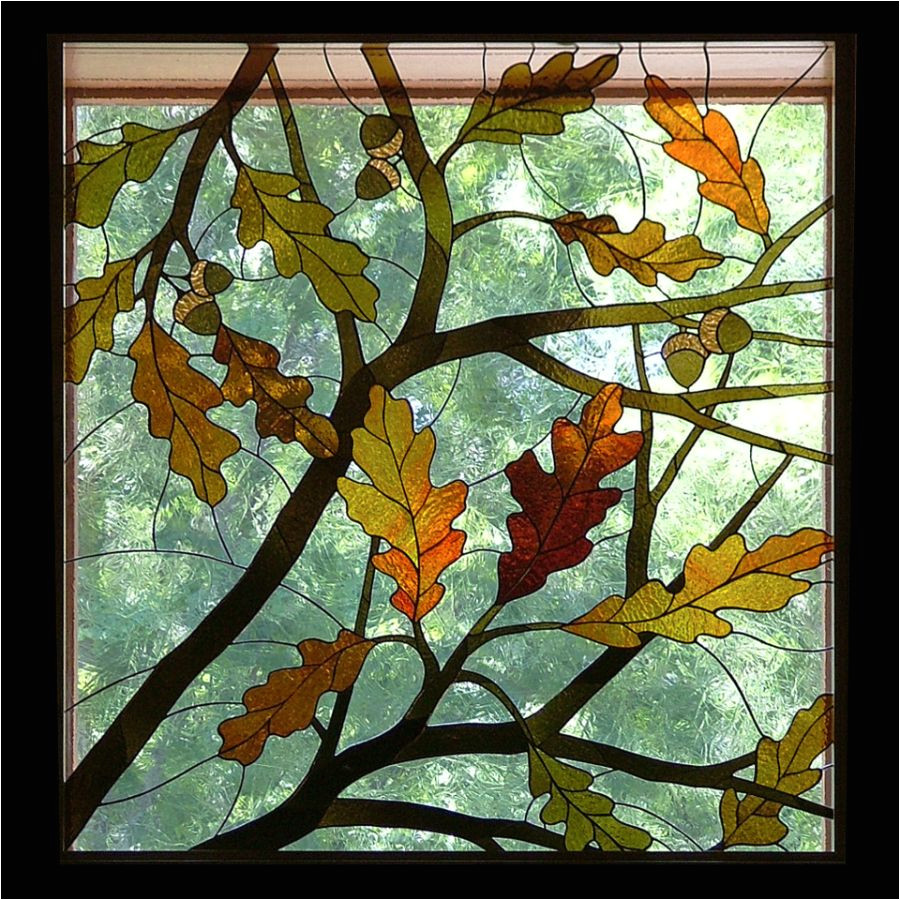 image result for fall leaves stained glass