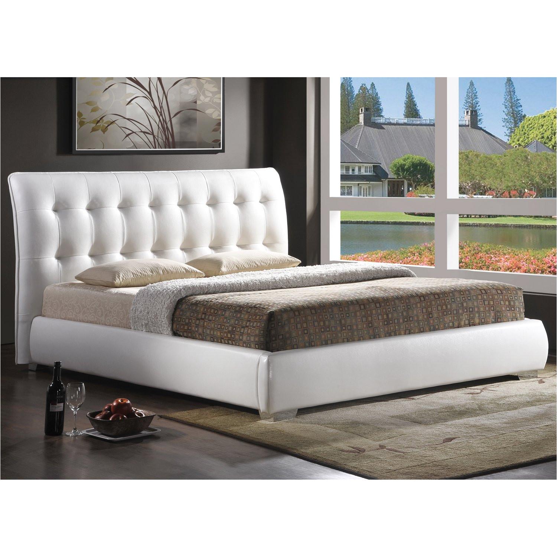 amazon com baxton studio jeslyn modern bed with tufted headboard king white kitchen dining