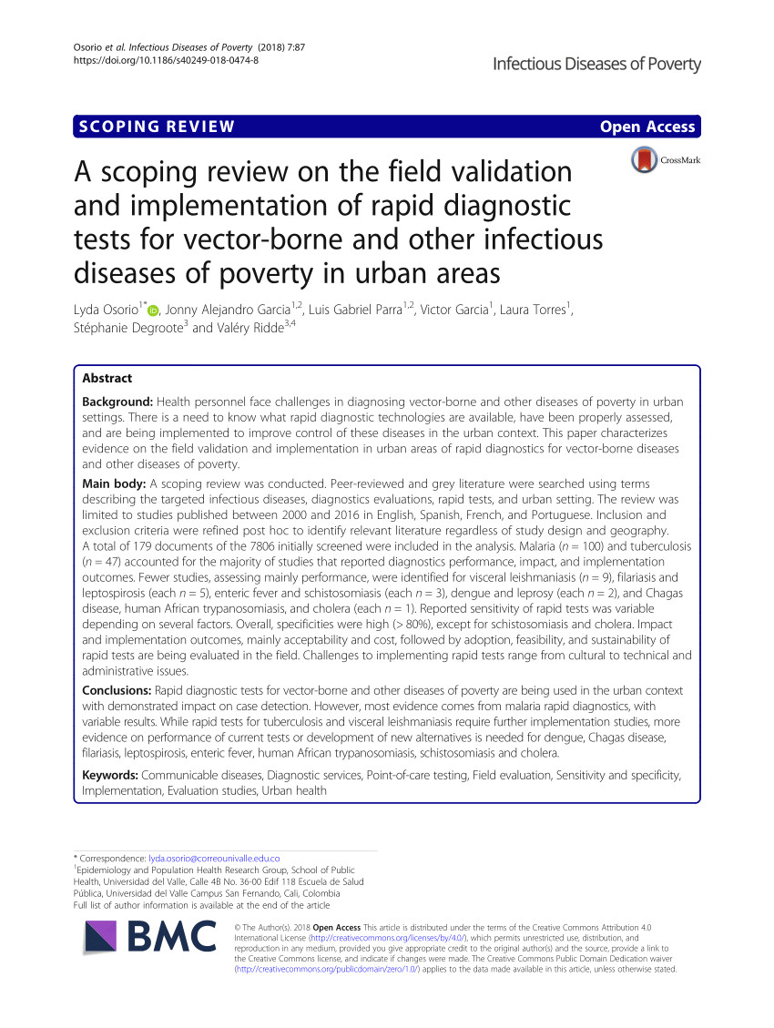 pdf a scoping review on the field validation and implementation of rapid diagnostic tests for vector borne and other infectious diseases of poverty in