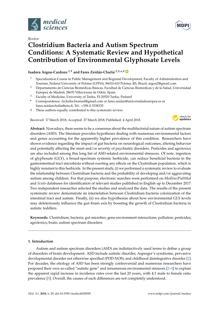 pdf clostridium bacteria and autism spectrum conditions a systematic review and hypothetical contribution of environmental glyphosate levels