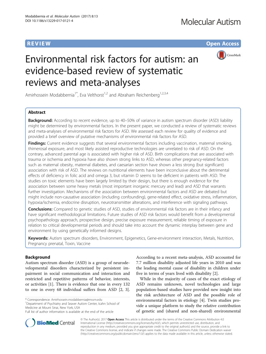 pdf environmental risk factors for autism an evidence based review of systematic reviews and meta analyses