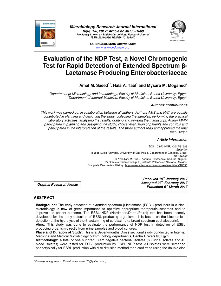pdf evaluation of the ndp test a novel chromogenic test for rapid detection of extended spectrum i lactamase producing enterobacteriaceae
