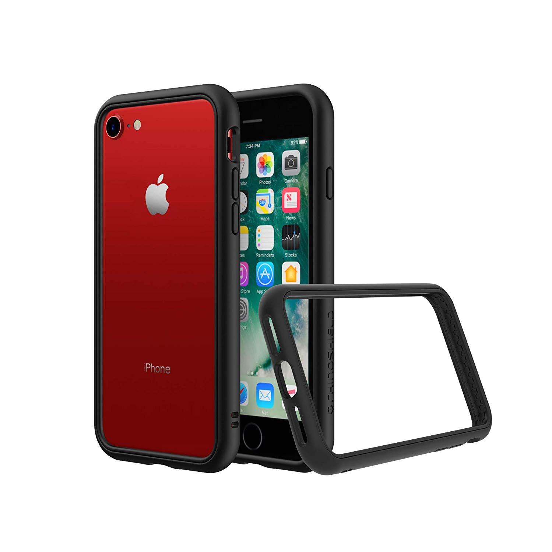 amazon com rhinoshield bumper iphone 8 7 crashguard nx shock absorbent slim design protective cover 3 5m 11ft drop protection black cell phones