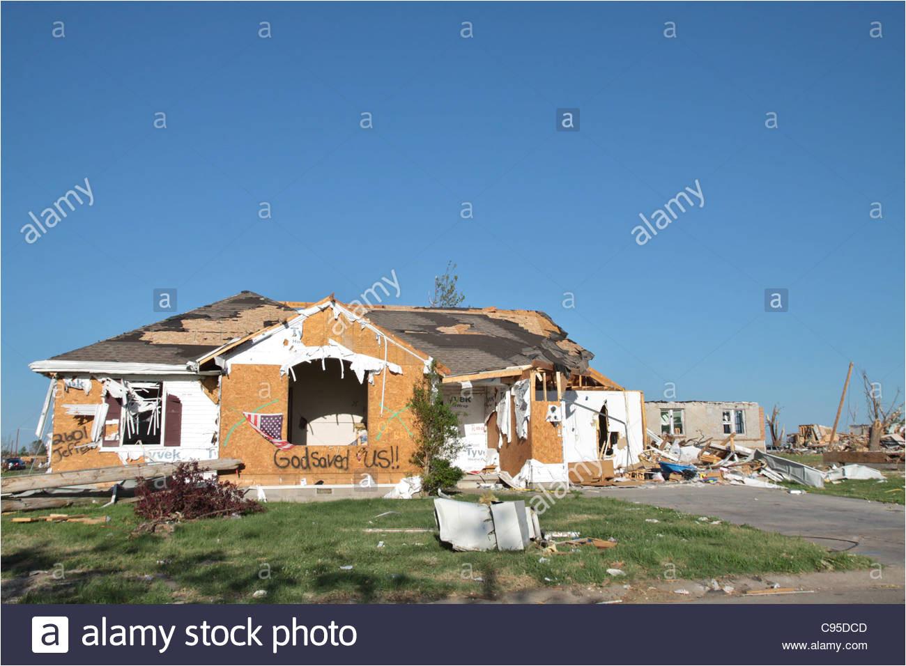 a house damaged by the tornado in joplin missouri in 2011 stock image