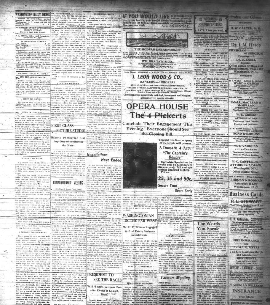 washington daily news washington n c 1909 current september 08 1909 last edition image 2 a north carolina newspapers