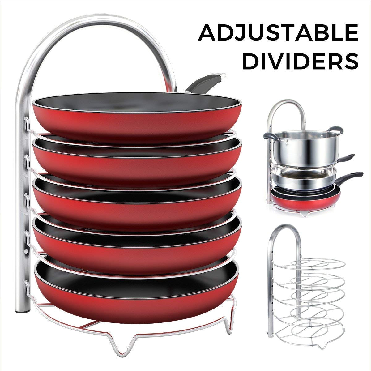 amazon com lifewit adjustable pan pot organizer rack for 8 9 10 11 12 inch cookware 5 tier cookware holder for cabinet worktop storage 18 10 stainless