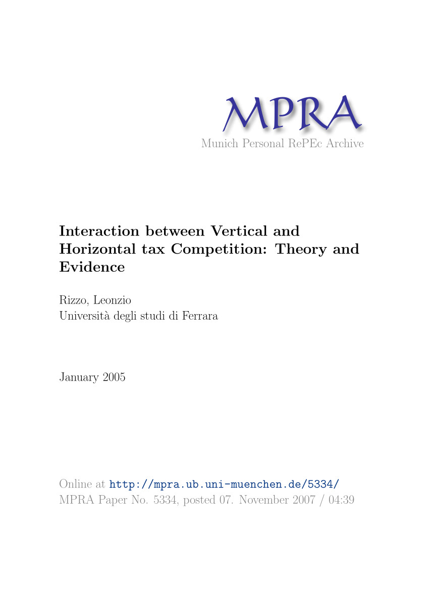 pdf interaction between vertical and horizontal tax competition theory and evidence