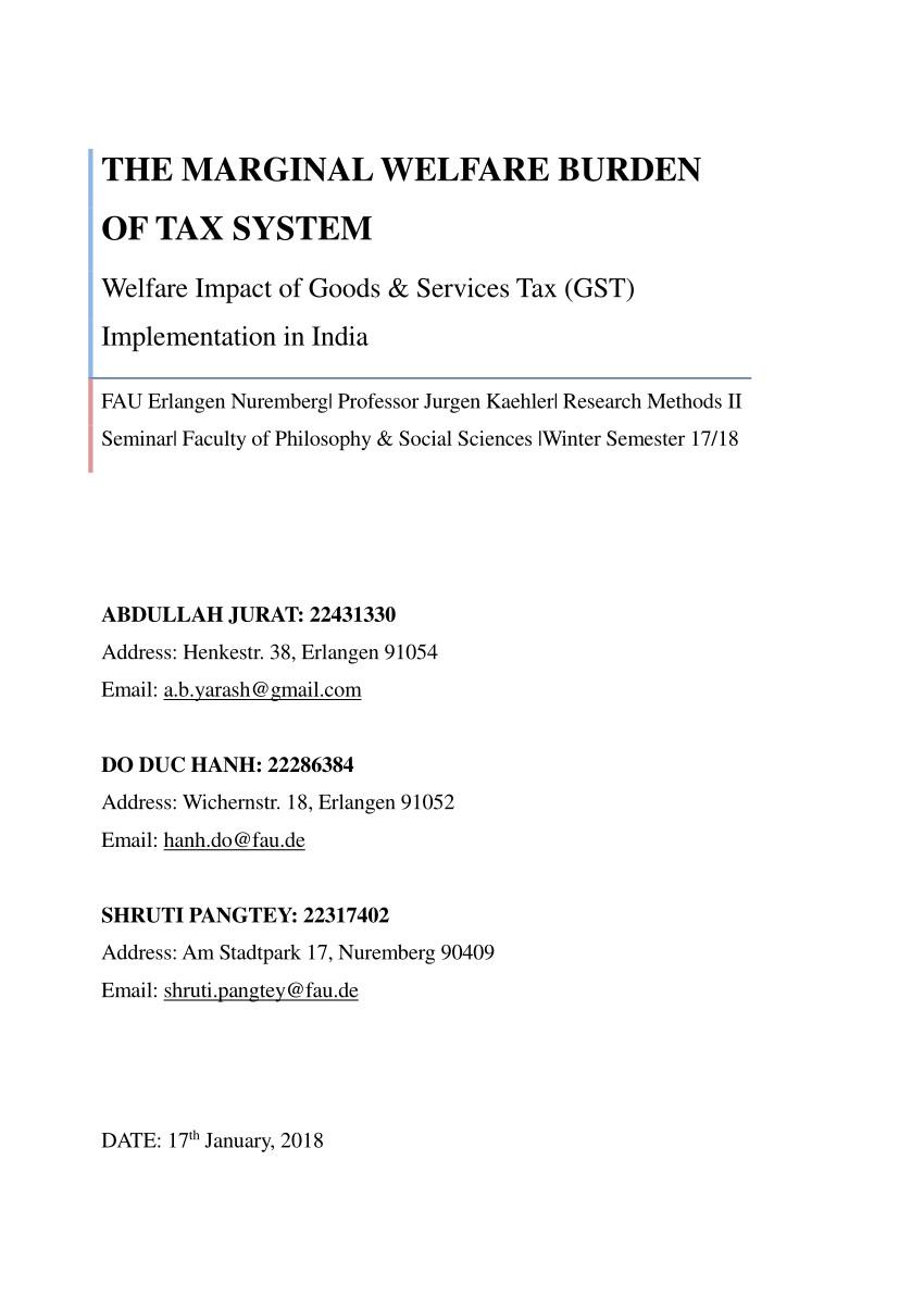 pdf the marginal welfare burden of tax system