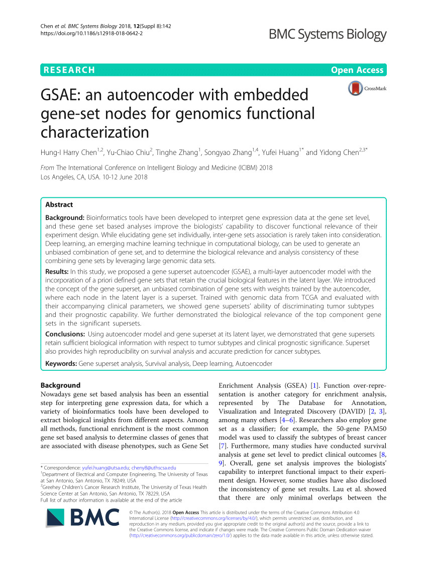 pdf gsae an autoencoder with embedded gene set nodes for genomics functional characterization