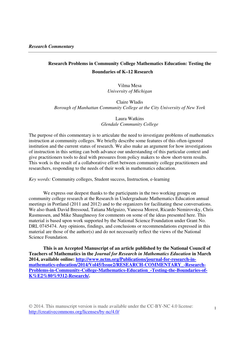 pdf research problems in community college mathematics education testing the boundaries of k 12 research