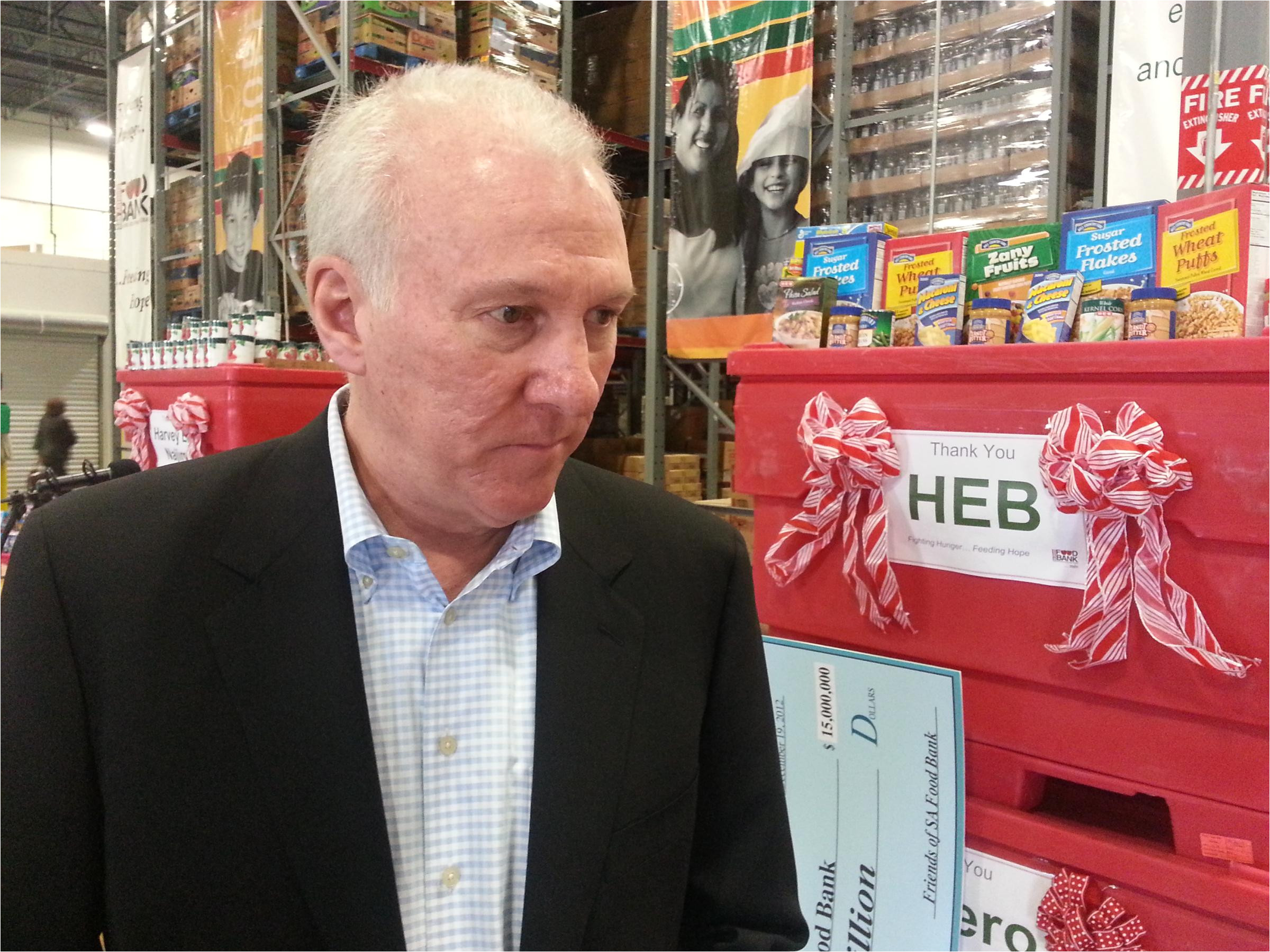 spurs coach gregg popovich describes the hunger situation in san antonio as embarrassing and contributed to the 15 million goal for the food bank s