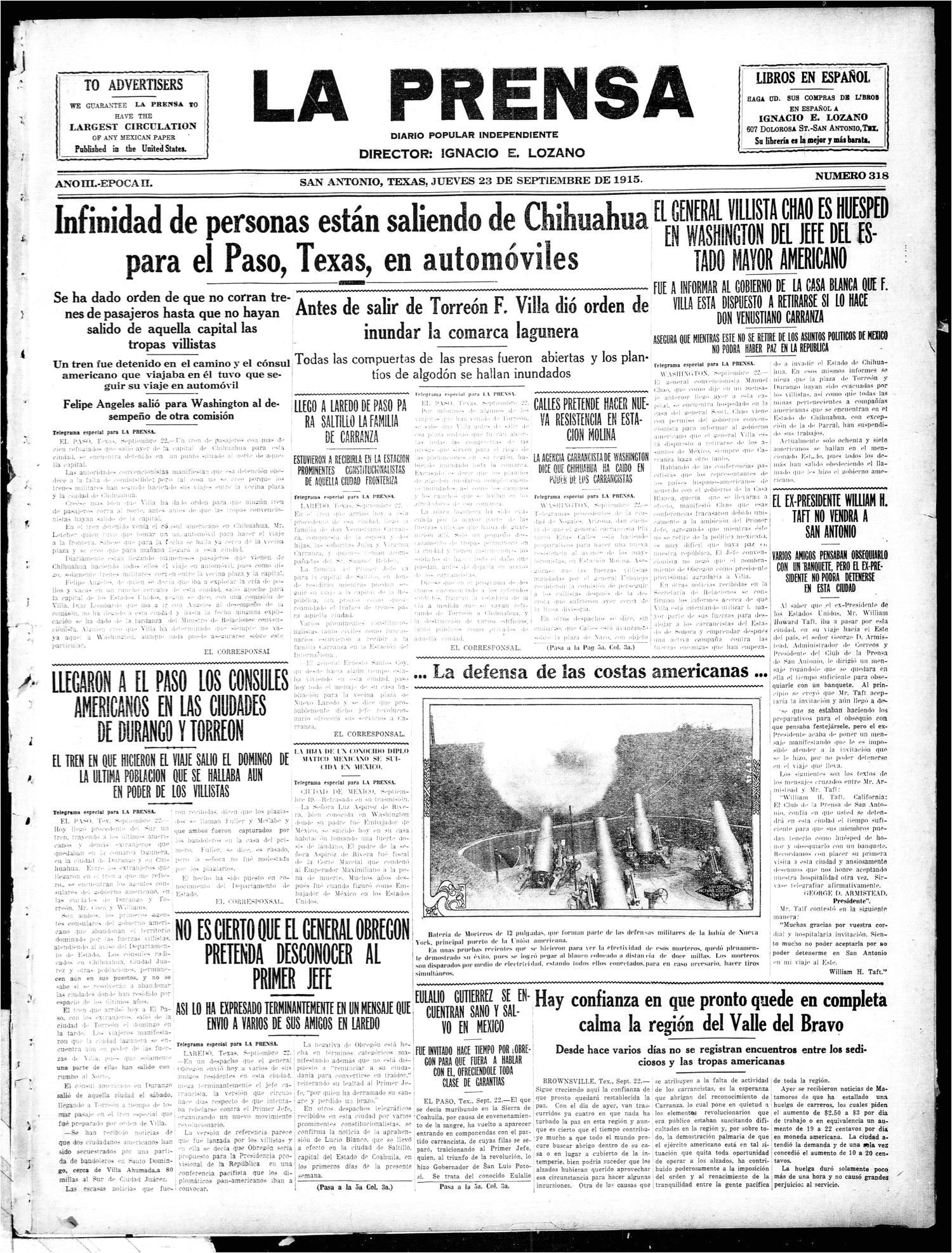 la prensa san antonio tex vol 3 no 318 ed 1 thursday september 23 1915 the portal to texas history