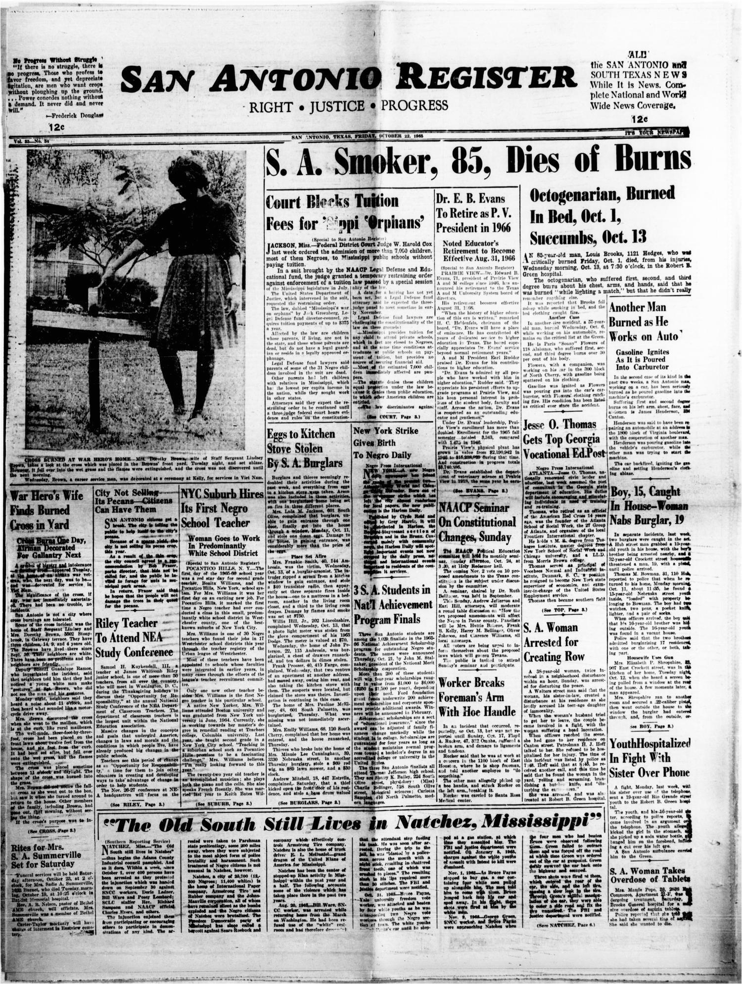 san antonio register san antonio tex vol 35 no 34 ed 1 friday october 22 1965 page 1 of 8 the portal to texas history