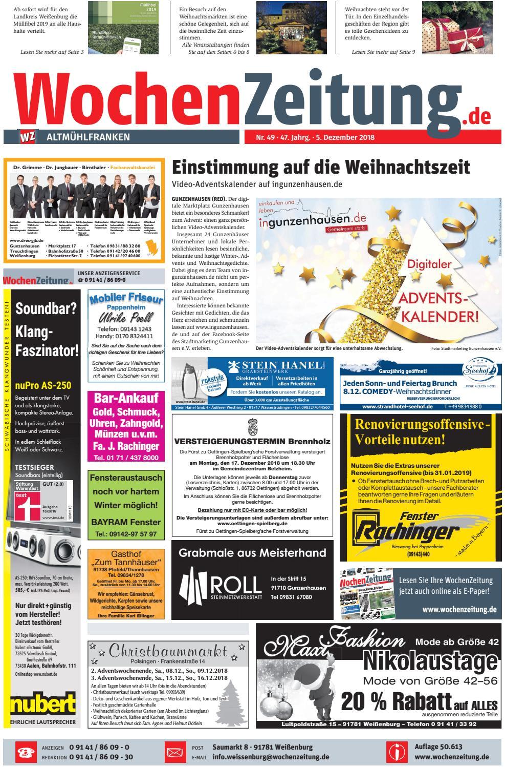 wochenzeitung altmuhlfranken kw 49 18 by wochenzeitung sonntagszeitung issuu
