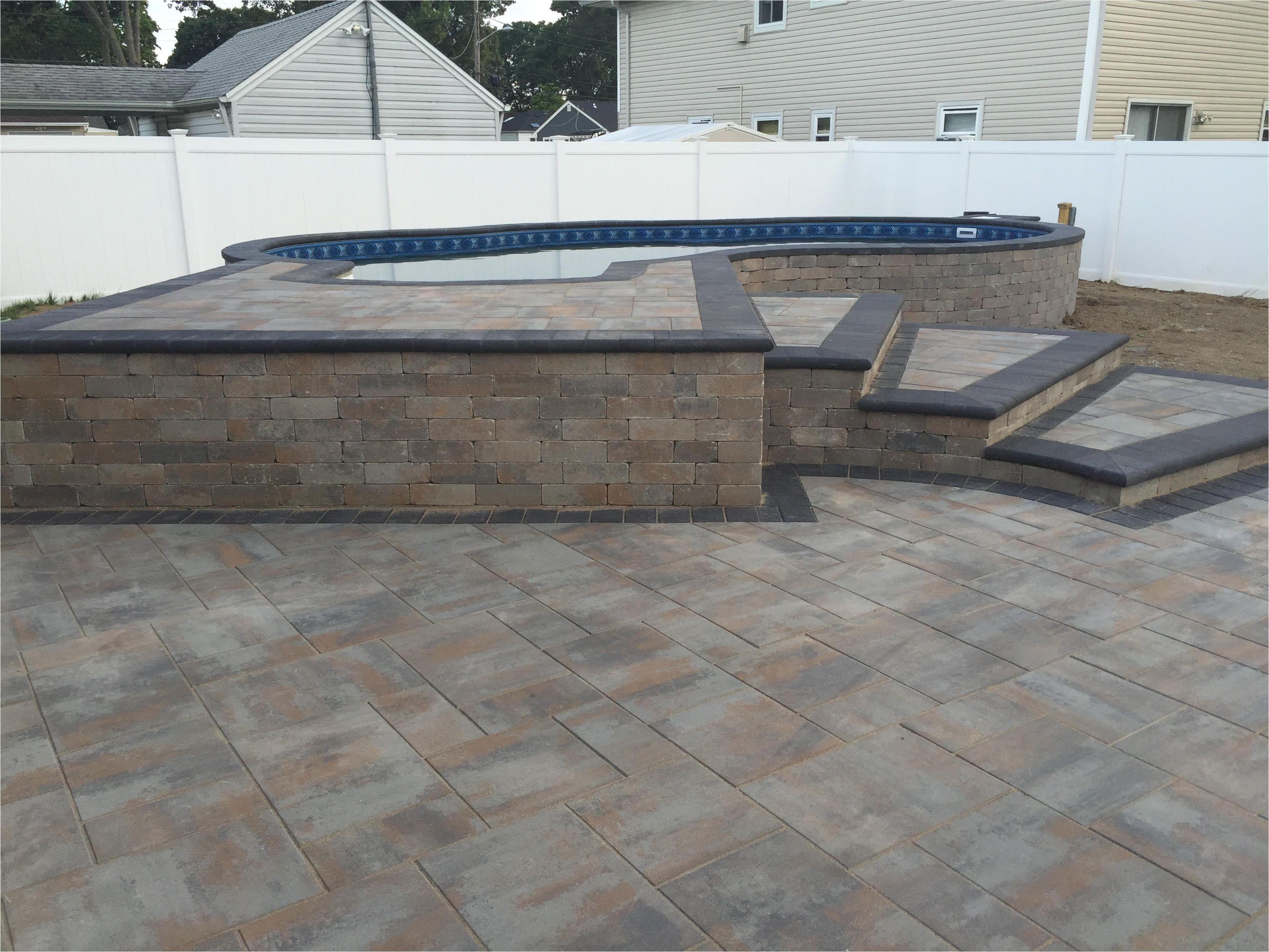 Semi Inground Pools Long island Radiant 16×27 Semi Inground Freeform with Pavers Radiant Pools