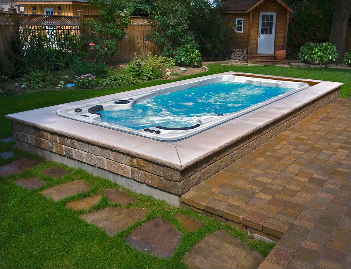 sometimes semi inground swim spa installs look better than inground ones
