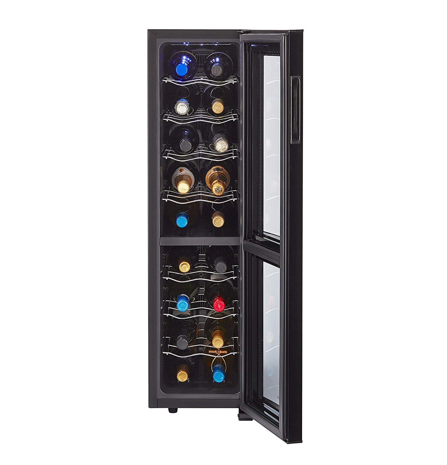 amazon com haier 18 bottle dual zone curved door with smoked glass wine cellar appliances