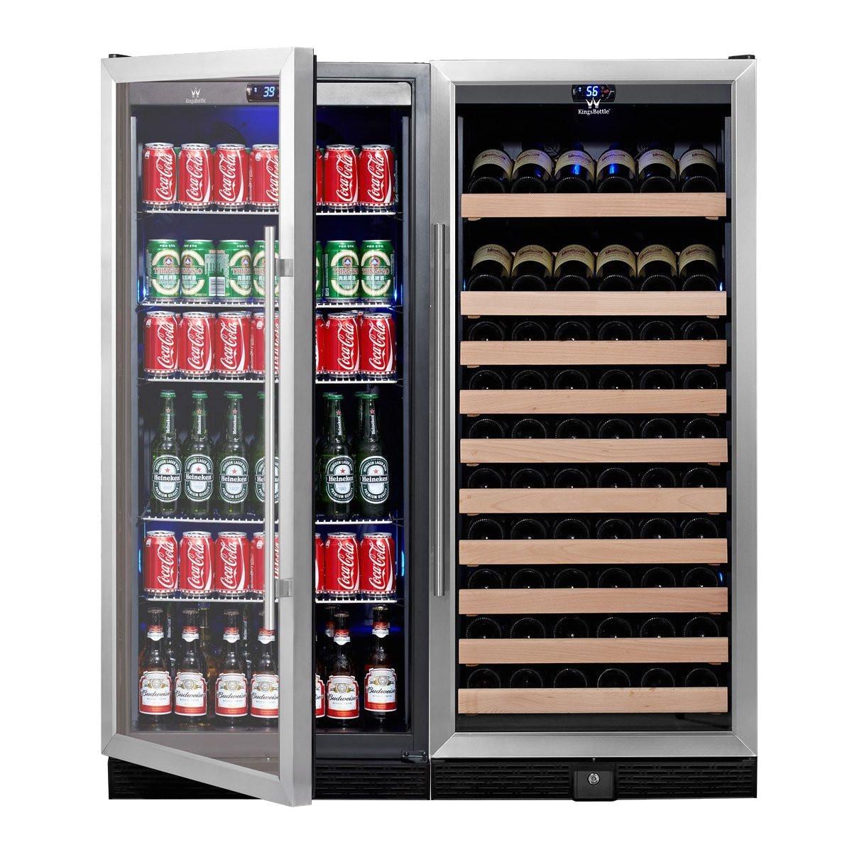 amazon com kingsbottle 2 zone large wine beverage fridge 397 pounds combo fridge holds 300 beer cans 98 wine or beverage bottles