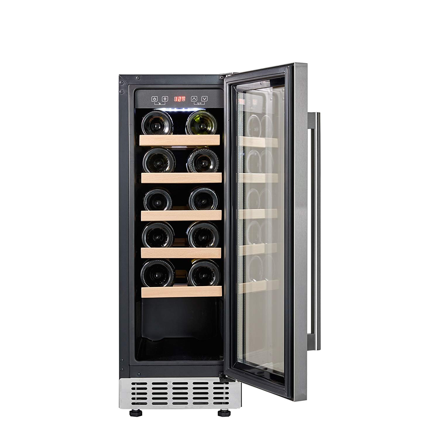 cookology cwc300ss 30cm wine cooler in stainless steel 20 bottle capacity freestanding undercounter fridge amazon co uk large appliances
