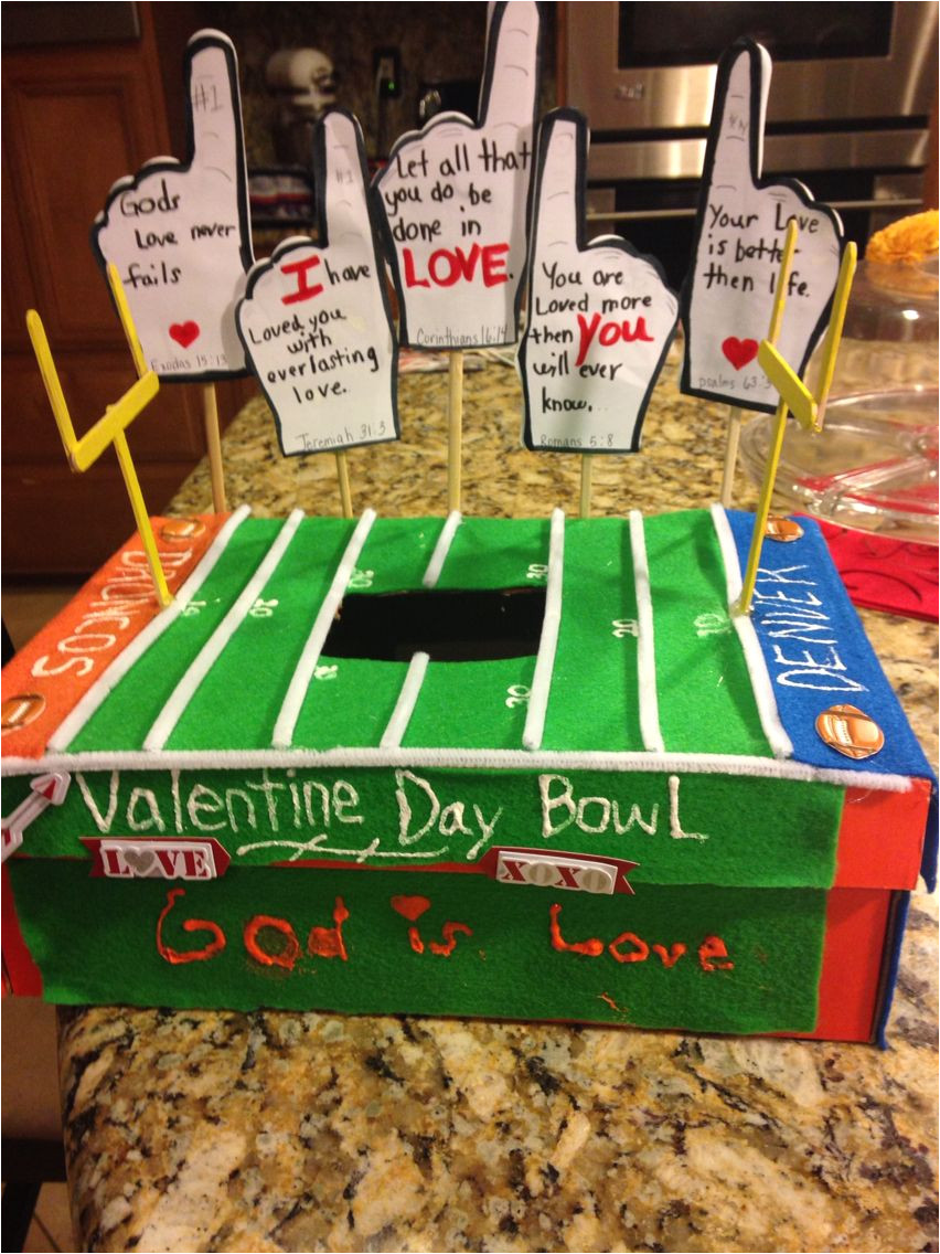 boys valentines day box mailbox football with bible verses his flip assignment was