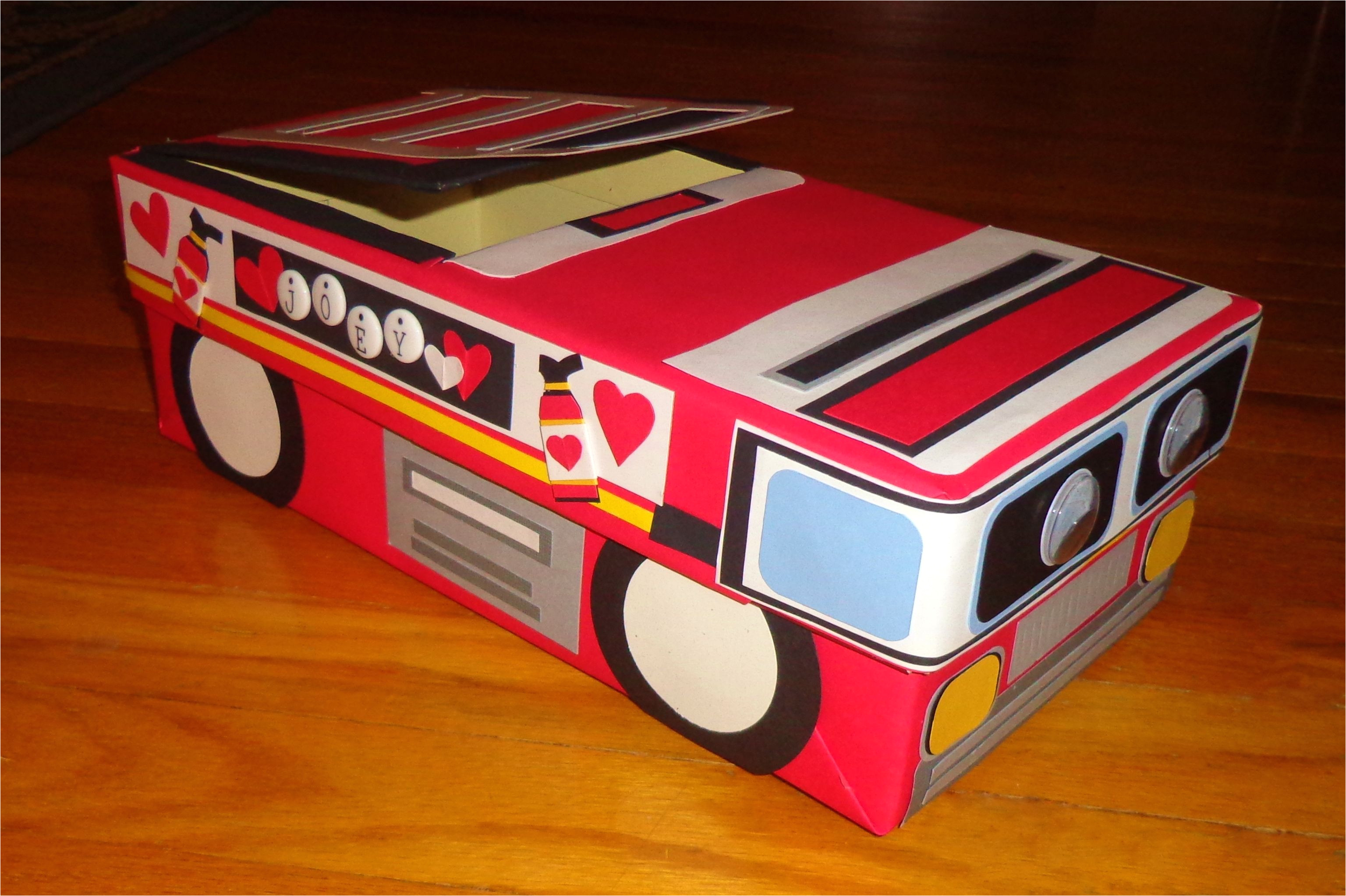 fire truck themed valentine s day card box made with a shoe box craft paper lots of elmers glue