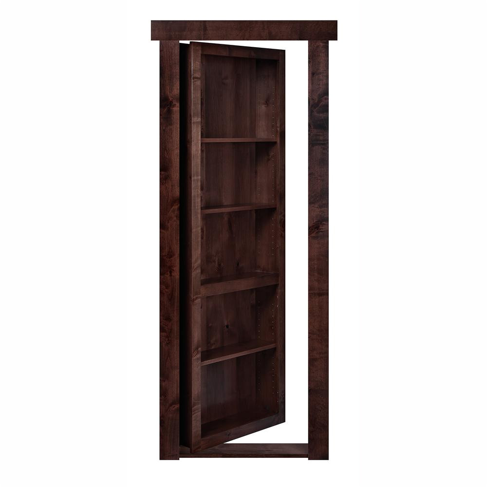 the murphy door 30 in x 80 in flush mount assembled alder dark brown stained right hand inswing solid core interior bookcase door fmaa30dsrhis the home