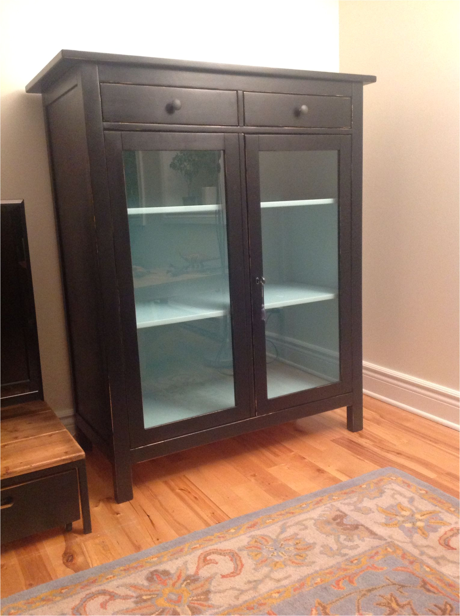 hemnes linen cabinet ikea refinished and updated from yellow to black and robin egg blue
