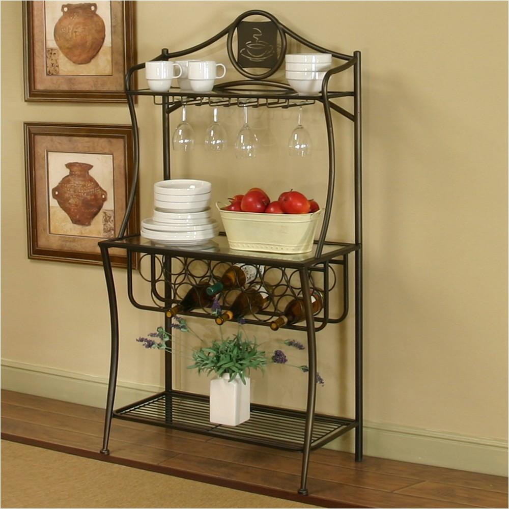 traditional interior ideas with cappuccino finish metal bakers rack wine storage racks on ikea